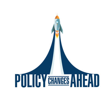 Policy changes ahead rocket smoke message illustration isolated over a white background