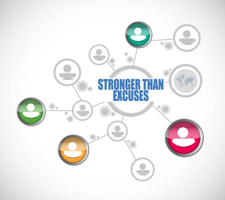 Stronger than Excuses network diagram sign isolated over a white background