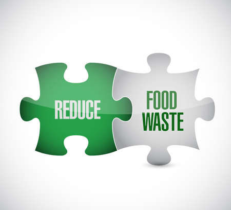 Reduce Food Waste puzzle pieces message concept, isolated over a white background