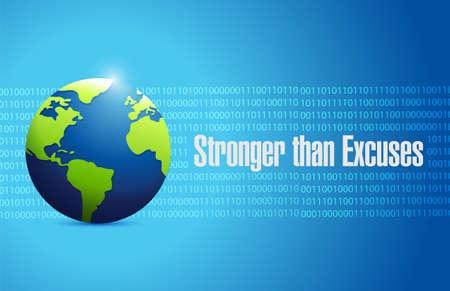Stronger than Excuses binary message sign over a blue background Ilustração