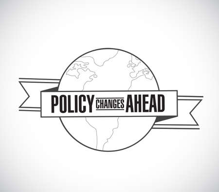 Policy changes ahead line globe ribbon message concept isolated over a white background