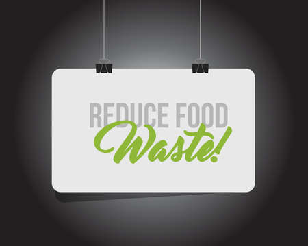 Reduce Food Waste hanging banner message isolated over a black background