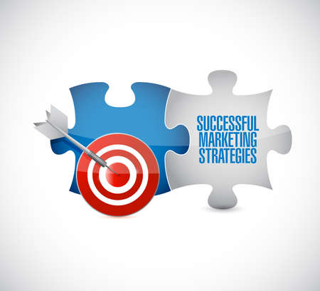 Successful marketing strategies target puzzle pieces message isolated over a white background Illustration