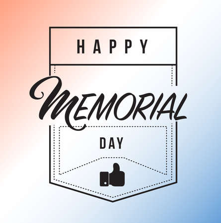 happy memorial day us line quote message concept isolated over a blue background