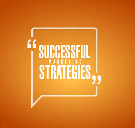Successful marketing strategies line quote message concept isolated over a orange background Illustration