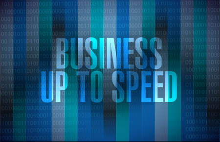 Business up to speed binary message concept isolated over a dark background