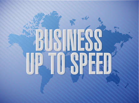 Business up to speed message on a world map background over a blue background