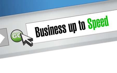 Business up to speed online browser sign message illustration design