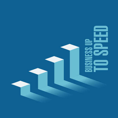 Business up to speed business graph message concept isolated over a blue background Illustration