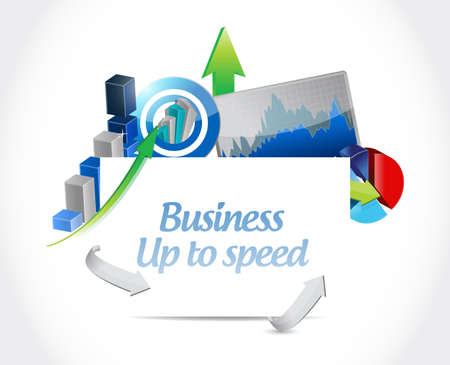 Business up to speed Business charts sign illustration isolated over a white background