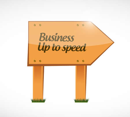 Business up to speed Wood street sign message concept isolated over a white background 向量圖像