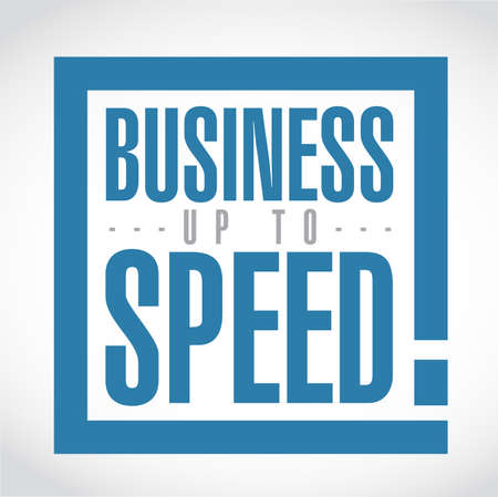 Business up to speed exclamation box message  isolated over a white background