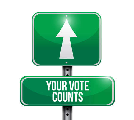 Your vote counts Street sign message concept illustration isolated over a white background Ilustrace