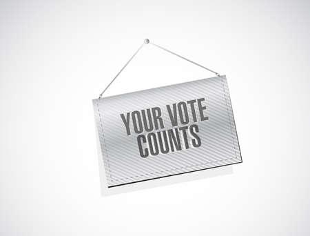 Your vote counts hanging banner sign concept illustration design background