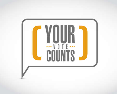 Your vote counts message bubble isolated over a white background