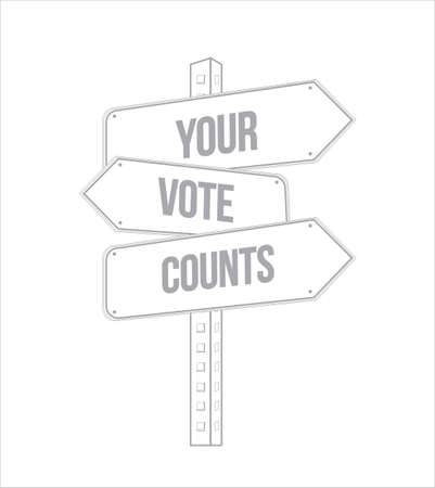 Your vote counts multiple destination line street sign isolated over a white background