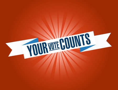Your vote counts bright ribbon message isolated over a red background Vektoros illusztráció