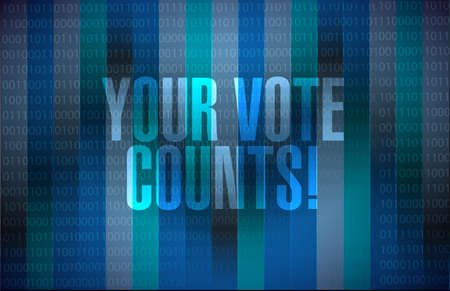 Your vote counts message sign illustration isolated over a dark binary background Vektoros illusztráció