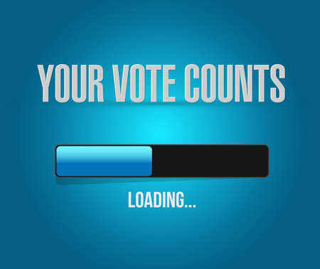 Your vote counts loading bar message concept illustration isolated over a blue background