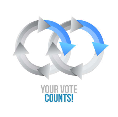 Your vote counts cycle color message concept illustration isolated over a white background Reklamní fotografie - 109804903