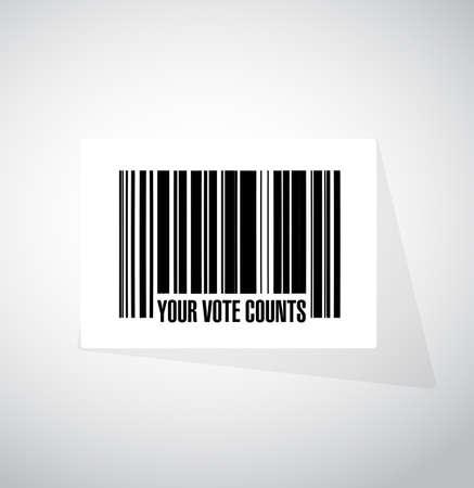 Your vote counts barcode message concept illustration design background