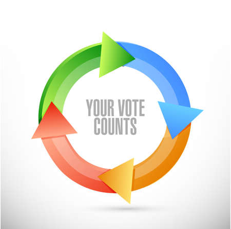 Your vote counts cycle color message concept illustration isolated over a white background Ilustrace