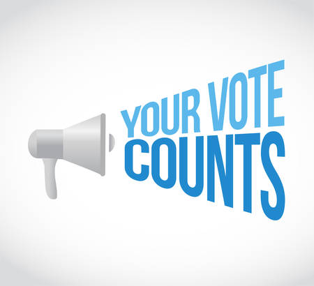 Your vote counts loudspeaker message concept isolated over a white background