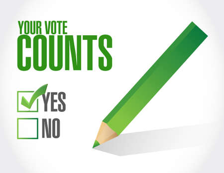 Your vote counts approval check  mark message concept illustration isolated over a white background Ilustrace