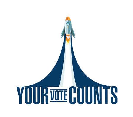 Your vote counts rocket smoke message illustration isolated over a white background Vektoros illusztráció