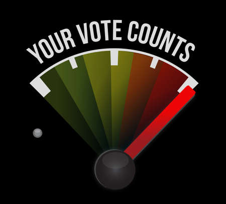 Your vote counts speedometer message concept illustration isolated over a black background