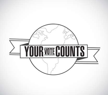 Your vote counts line globe ribbon message concept isolated over a white background Vektoros illusztráció