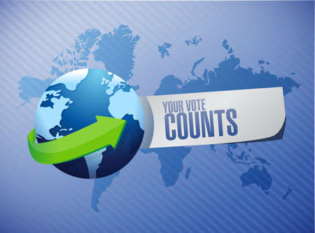 Your vote counts International message concept illustration isolated over a world map background Illusztráció