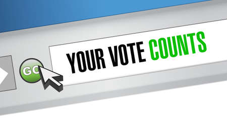 Your vote counts Web browser message concept illustration design background