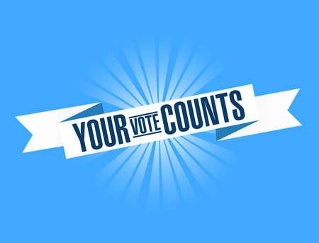Your vote counts bright ribbon message isolated over a blue background Vektoros illusztráció