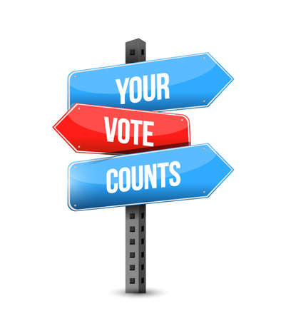 Your vote counts multiple destination color street sign isolated over a white background  イラスト・ベクター素材