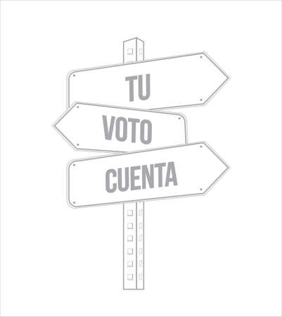 your vote counts in Spanish multiple destination line street sign isolated over a white background