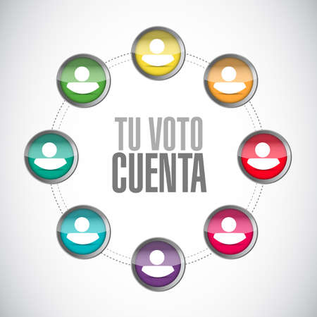 your vote counts in Spanish network diagram concept illustration isolated over a white background
