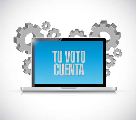 your vote counts in Spanish Computer message illustration isolated over a white background