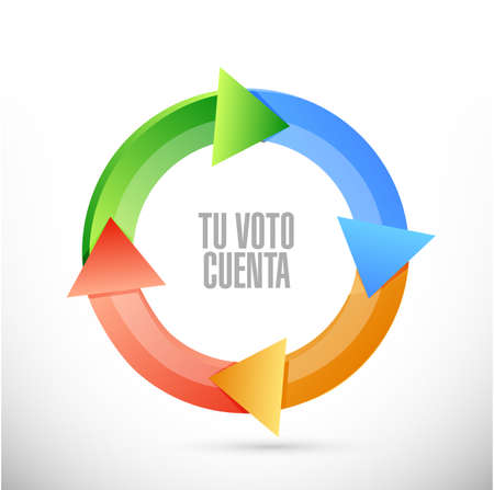 your vote counts in Spanish Cycle color message concept illustration isolated over a white background