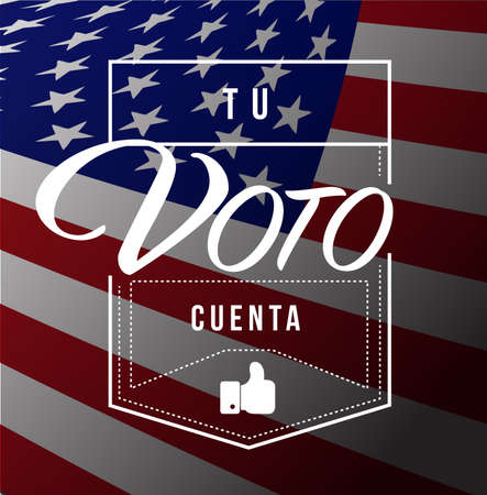 your vote counts in Spanish Modern stamp message design isolated over a us flag background