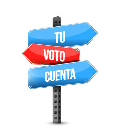 your vote counts in Spanish multiple destination color street sign isolated over a white background