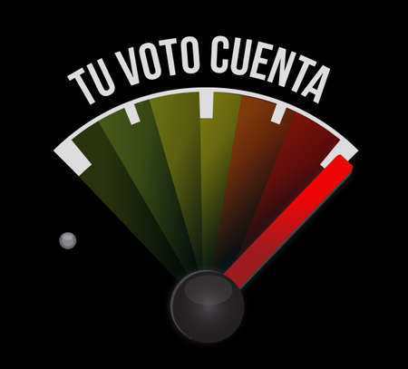 your vote counts in Spanish speedometer message concept illustration isolated over a black background