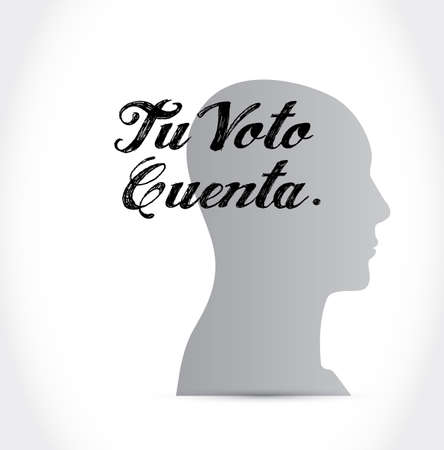 your vote counts in Spanish thinking concept illustration isolated over a white background Ilustrace