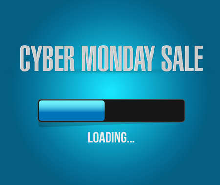 Cyber Monday Sale loading bar message concept illustration isolated over a blue background