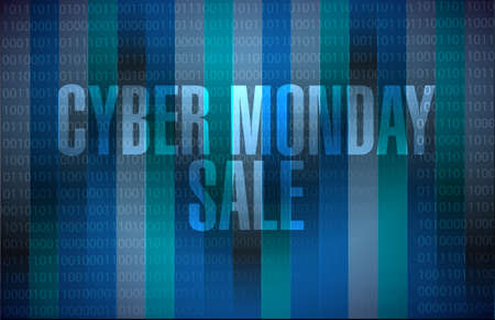 Cyber Monday Sale message sign illustration isolated over a dark binary background  イラスト・ベクター素材
