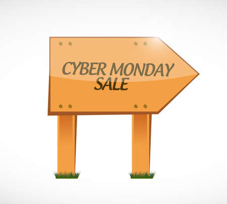 Cyber Monday Sale Wood sign concept illustration isolated over a white background