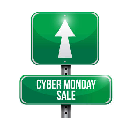 Cyber Monday Sale street sign isolated over a white background