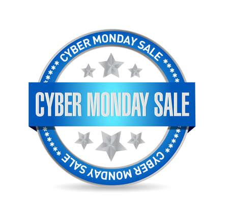 Cyber Monday Sale Seal stamp message concept illustration design background  イラスト・ベクター素材