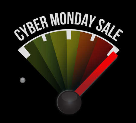 Cyber Monday Sale speedometer message concept illustration isolated over a black background