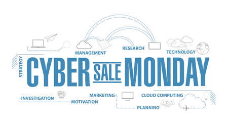 Cyber Monday Sale diagram plan concept isolated over a white background